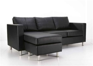 Black pu leather 3 seater sofa lounge couch with chaise for 3 seater chaise lounge