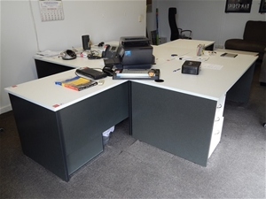 qty of office furniture white melamine finish auction