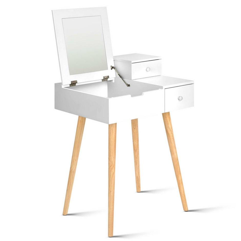Artiss Dressing Table with Foldaway Mirror- White
