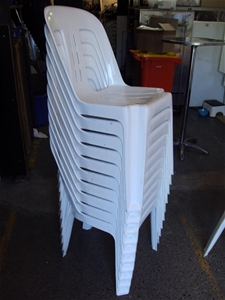 The Bistro White Plastic Stackable Chairs Auction 0010
