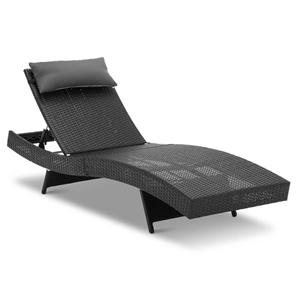 Gardeon Outdoor Wicker Sun Lounge - Blac