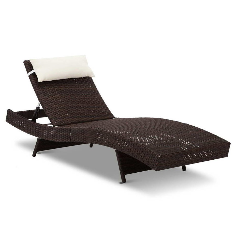 Gardeon Outdoor Wicker Sun Lounge - Brown
