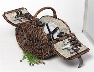 4 Person Wicker Cane Picnic Basket Dark Brown