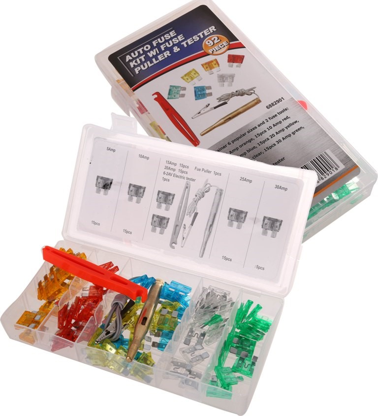 Auto Fuse Kit 92pc c/w Fuse Puller & Tester, Contents: Refer Image. (SN:688