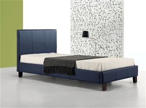 Single PU Leather Bed Frame Blue