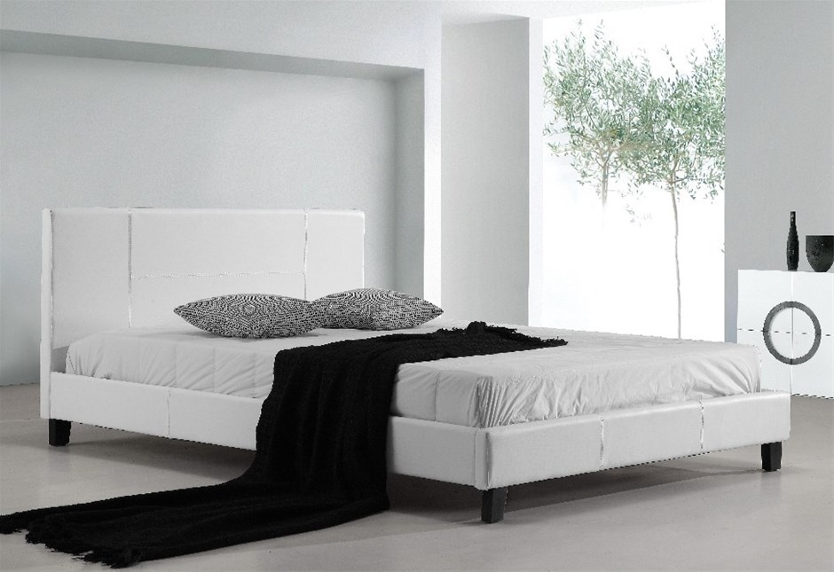 double pu leather bed frame white - White Leather Bed Frame