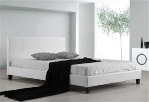 Queen PU Leather Bed Frame White