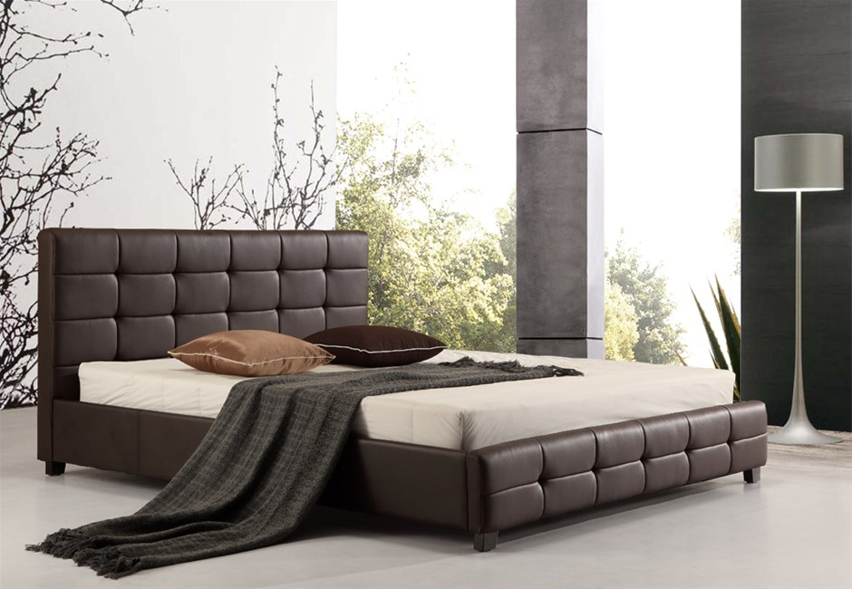 black queen leather products grande pu frame palermo bed