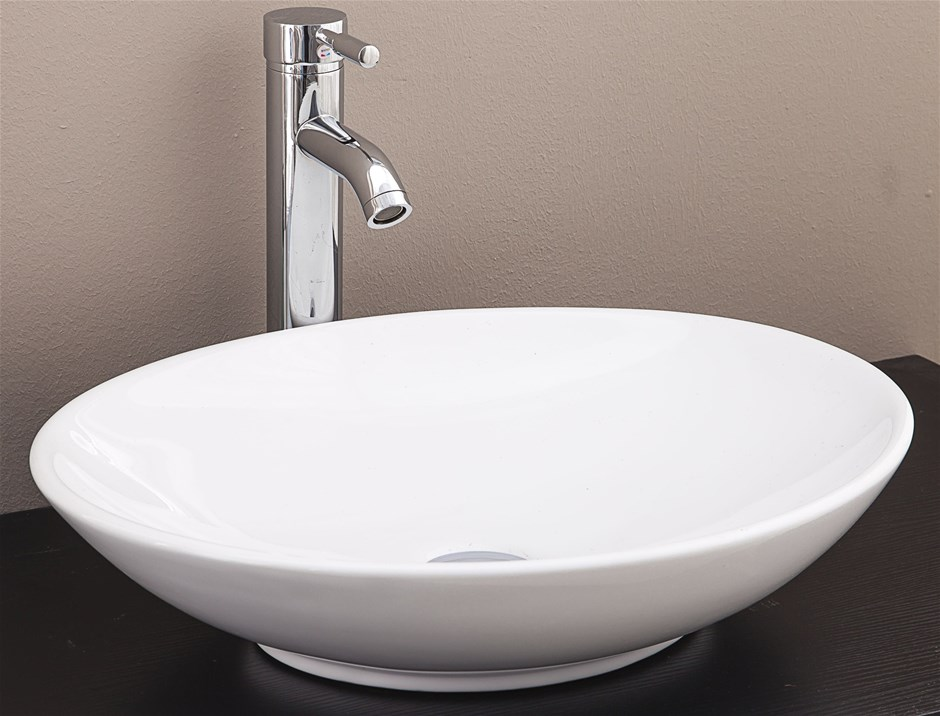 Bathroom Ceramic Oval Above Countertop Basin for Vanitycheap bathroom vanities   16 products   Graysonline. Bathroom And Kitchen Auctions Melbourne. Home Design Ideas