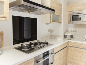 Toughened 60cm x 70cm Black Glass Kitche