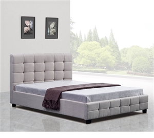 Linen Fabric Double Deluxe Bed Frame Bei