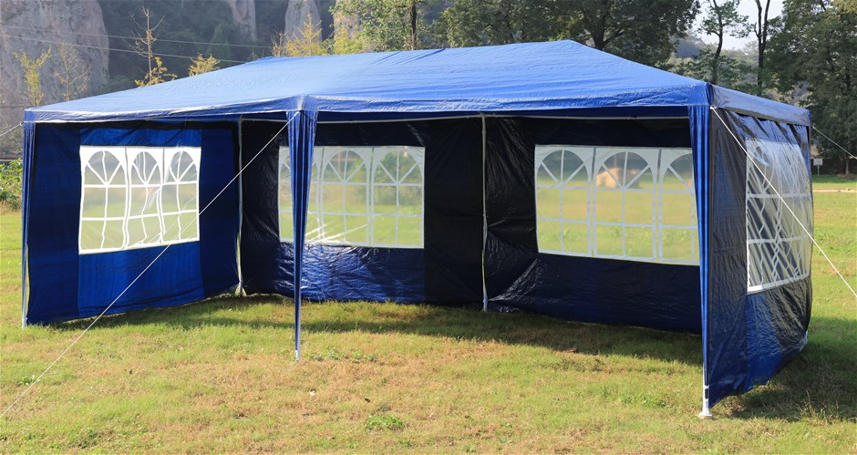 3x6m Gazebo Outdoor Marquee Tent Canopy Blue