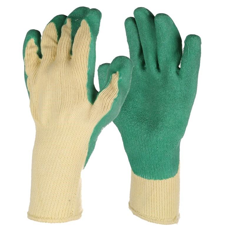 12 Pairs x Industrial Work Gloves, Size XL, Crinkled Latex Palm Cotton. Buy