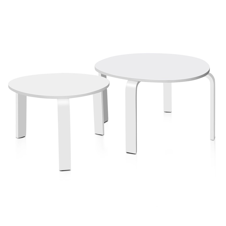 Artiss 2 Piece Wooden Coffee Table White