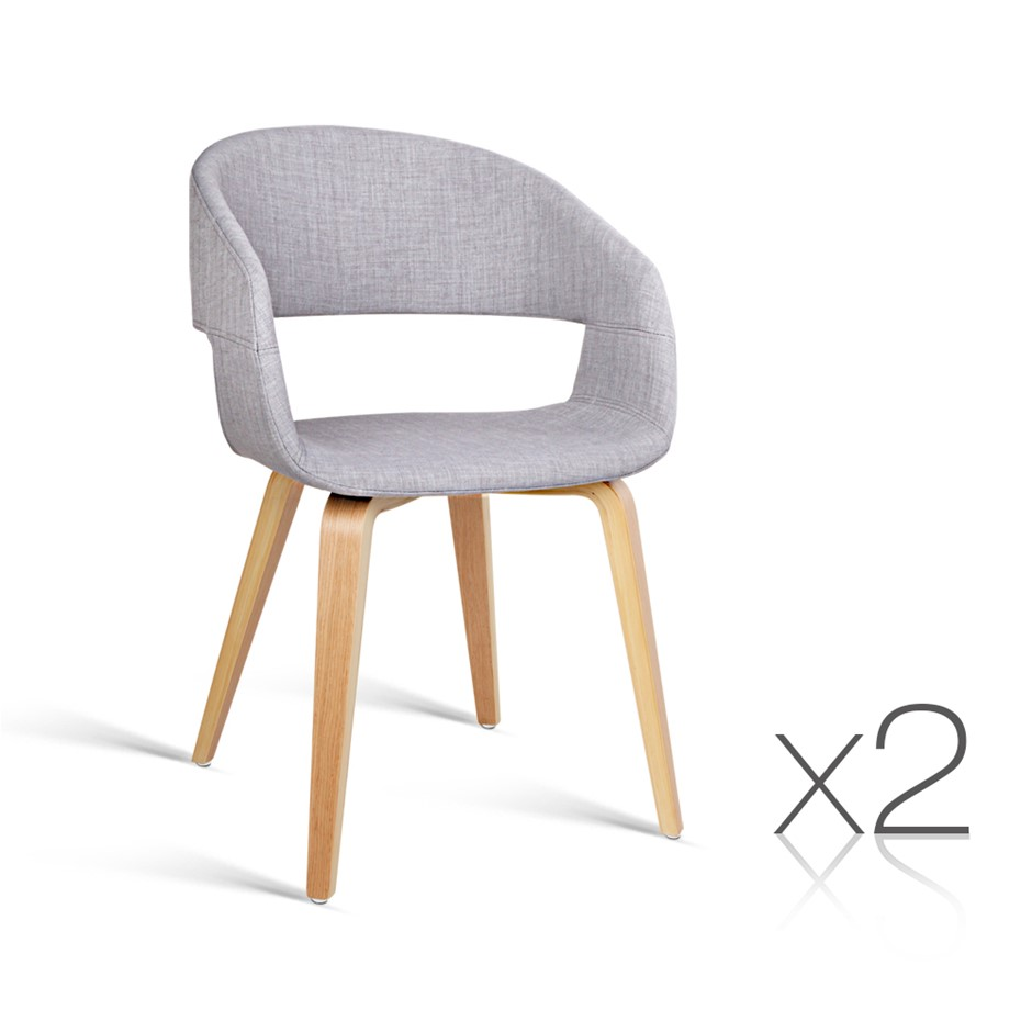 Artiss Set of 2 Timber Wood and Fabric Dining Chairs - Light Grey