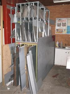 3 X Assorted Sheet Metal Stock Storage Racks L Shape