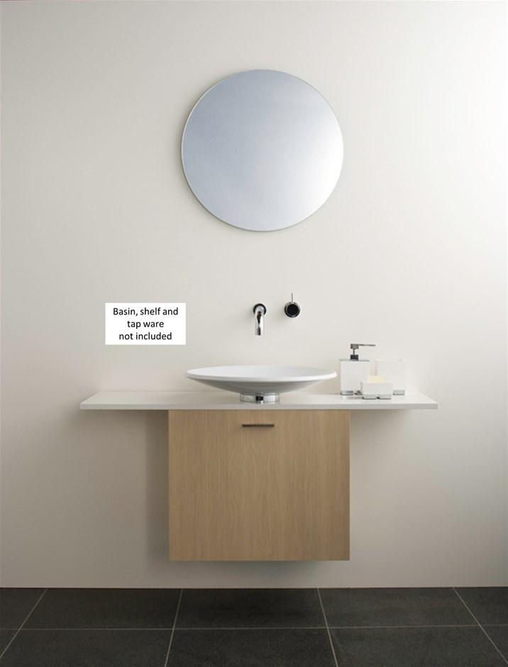 Omvivo Vessel Wall Hung Bathroom Cabinet in Malt Timber Wrap