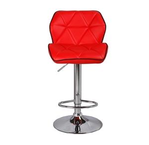 2X Red Bar Stools PU Leather Adjustable