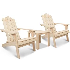 Gardeon 3 Piece Wooden Outdoor Beach Cha