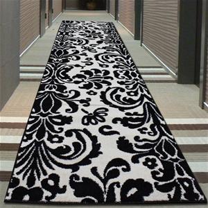 buy damask design rug black white 400x80cm graysonline