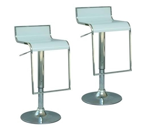 2 X Modern Retro Solid Abs And Gas Lift Bar Stool White