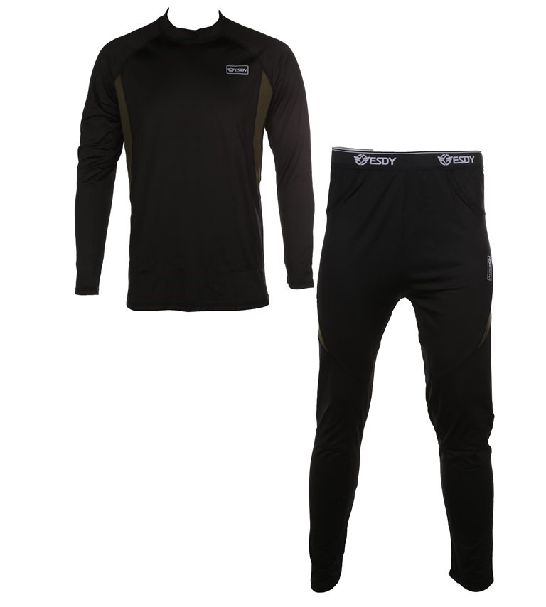 Thermal Military Underwear Top & Bottom Compression Style, Size 2XL, Black.