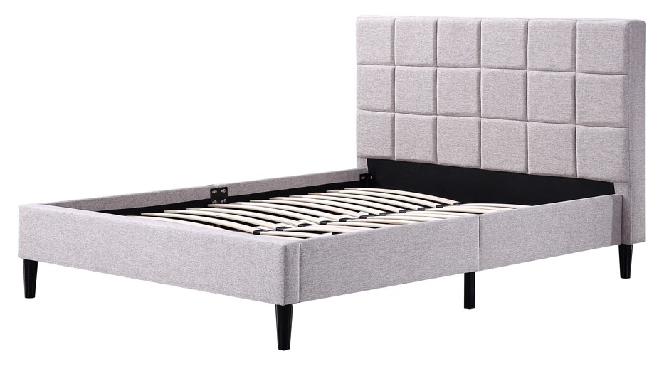 Double Linen Fabric Deluxe Bed Frame Beige