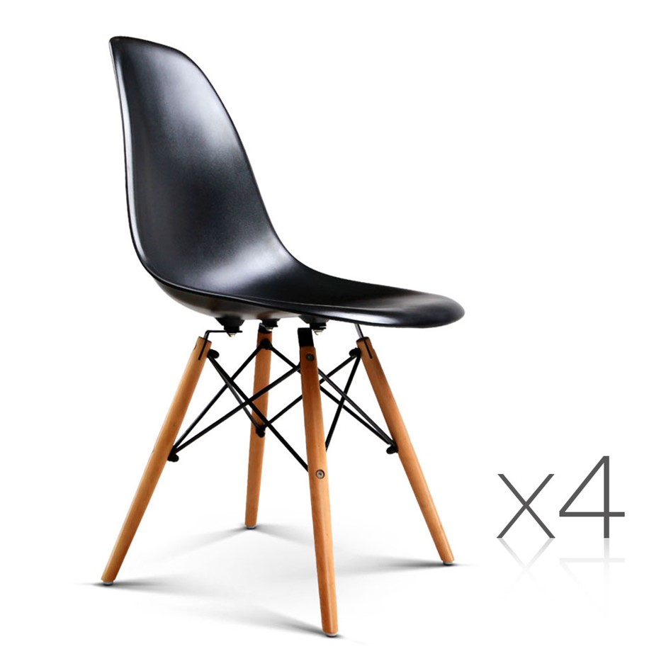 Artiss Set of 4 Retro Beech Wood Dining Chair - Black