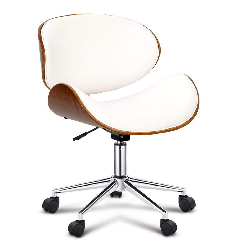 Wooden pu leather office desk chair white