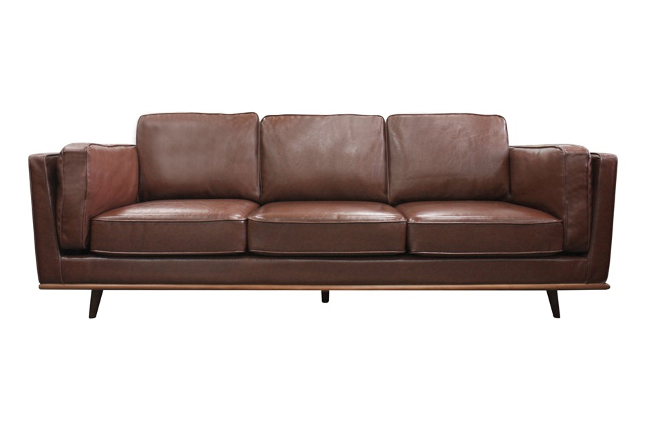 Solid wooden frame Sofa 3 Seater Brown PU