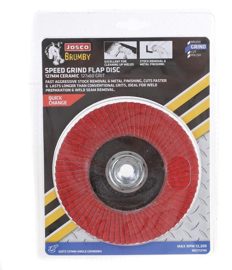 3 x JOSCO 127mm x 60Grit Ceramic Speed Cut Flap Discs. Buyers Note - Discou