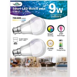 MV Smart Bulb 9W B22 Twin Pack