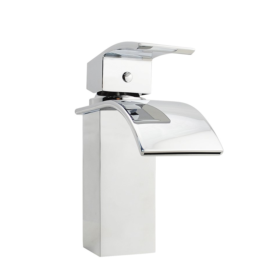 Square Waterfall Chrome Basin Mixer Tap Faucet Watermark and WELS Approved