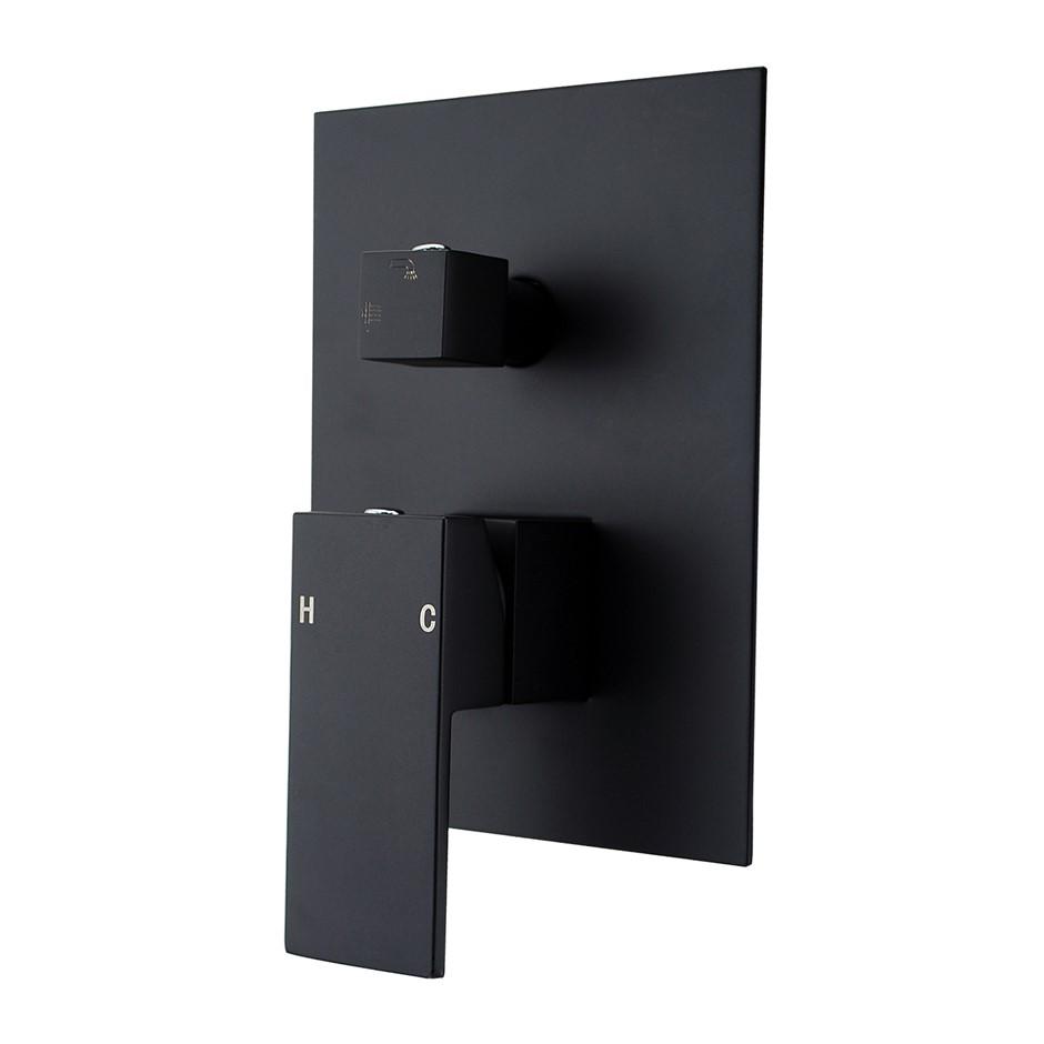Square Black Shower/Bath Spout Mixer Tap With Diverter(Brass)