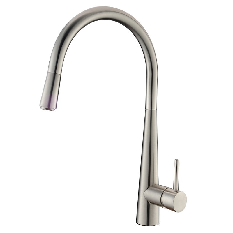 Brushed Nickel Pull Out Kitchen Mixer Tap Lead Free Watermark and WELS