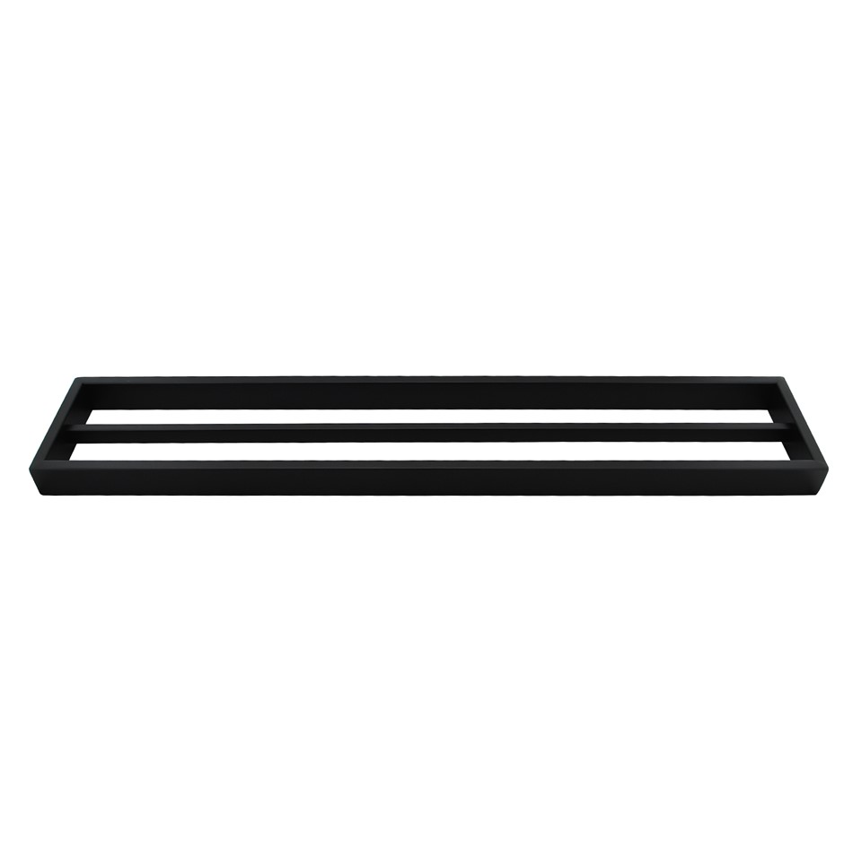 Square Matt Black 304 Stainless Steel Double Towel Rail Rack Bar 600mm