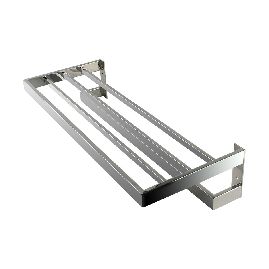 Square Chrome 304 Stainless Steel Double Towel Holder Rack Rail 600mm