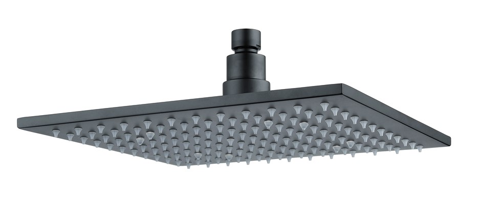 "10"" Square Black LED Rainfall Shower Head(Brass), Watermark & WELS Approved"