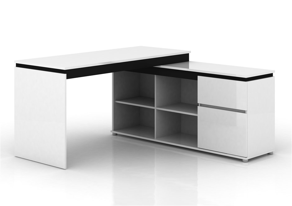 Milano High Gloss Drawer Desk