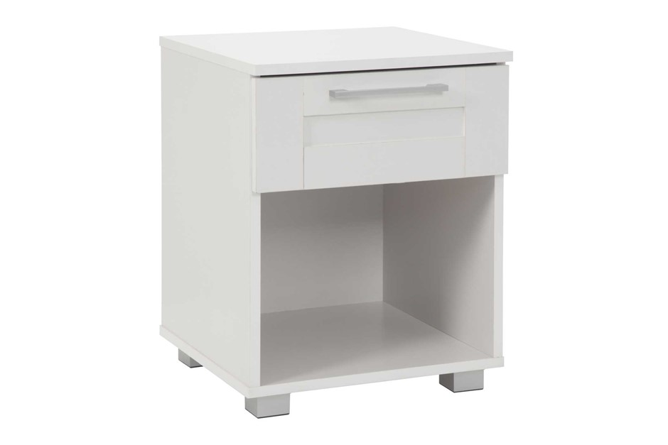 Montreal Bedside Table with 1 Drawer - White
