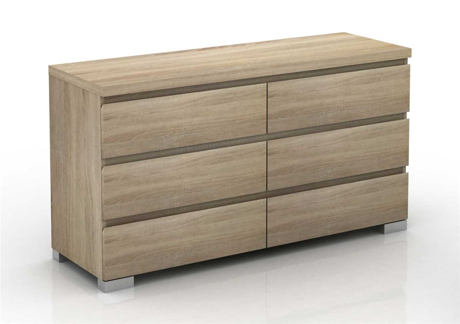 Elara 6 Drawer Chest - Light Sonoma Oak