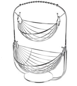 MESA 2-Tier Fruit Basket, Chrome Finish,