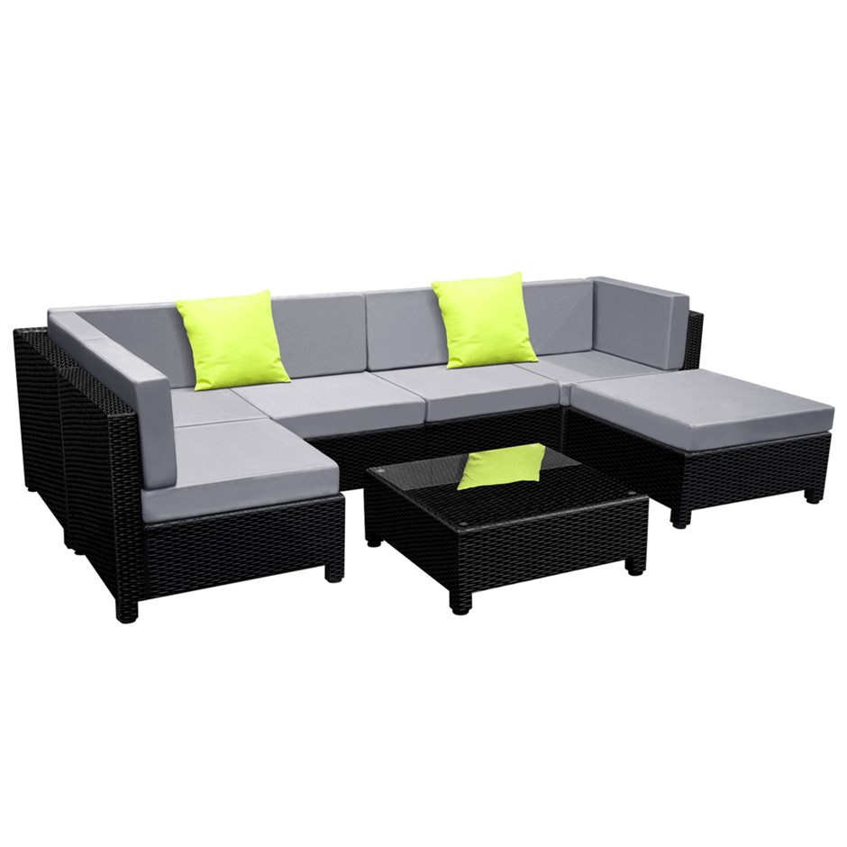Gardeon 7 Piece PE Wicker Outdoor Furniture Set - Black