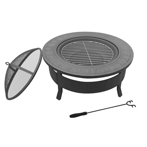 Grillz Round Outdoor Fire Pit BBQ Table
