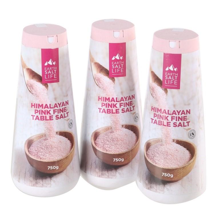 3 x HIMALAYAN Pink Fine Table Salt 750g. (SN:CC12706) (268497-375)