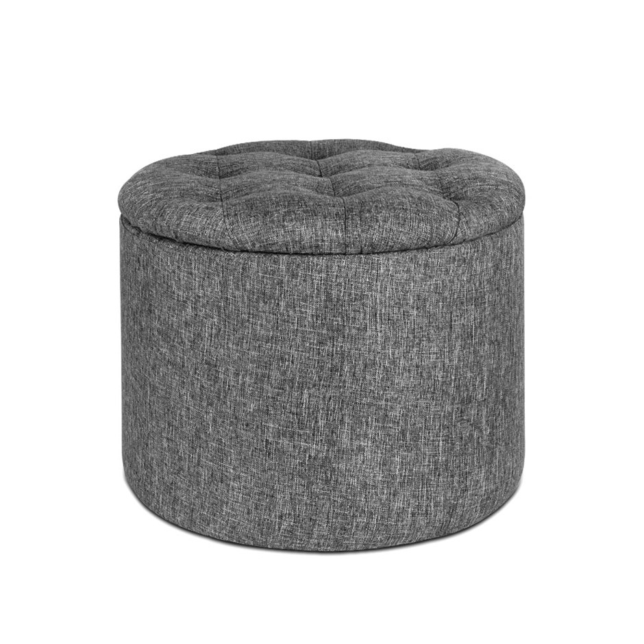 Artiss Fabric Round Storage Ottoman - Grey