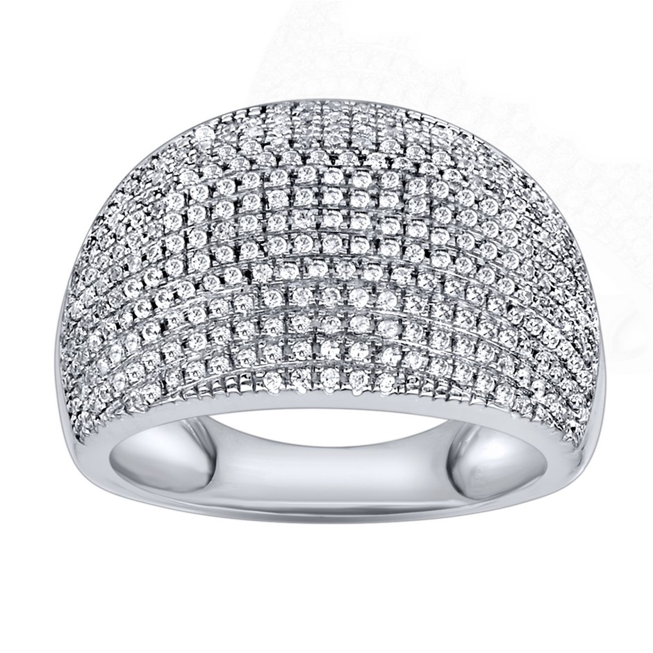9ct White Gold 072ct Diamond Dress Ring