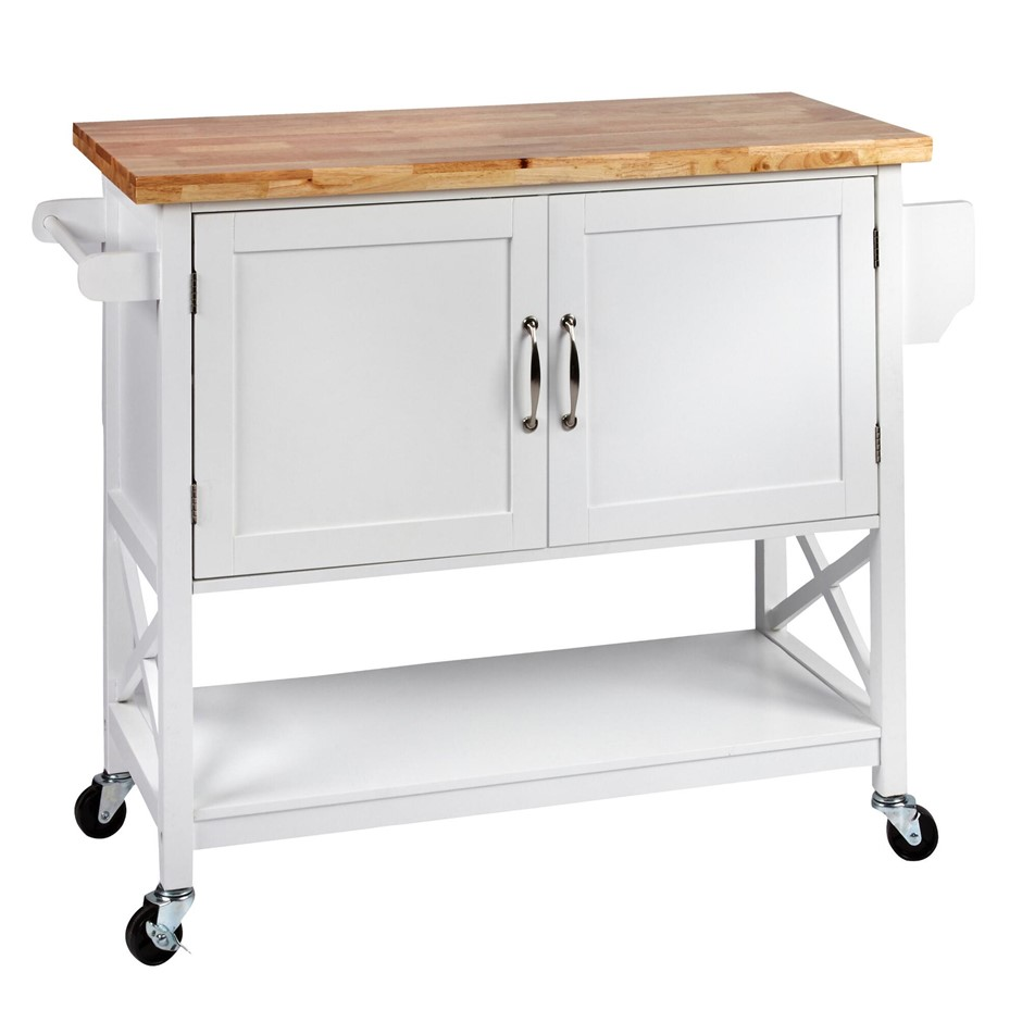 Hampton Kitchen Island Solid wood Counter Top - White