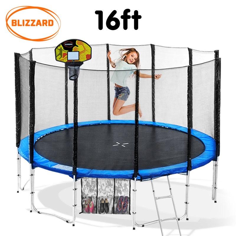 Blizzard 16 ft trampoline with net and basketball set - Blue