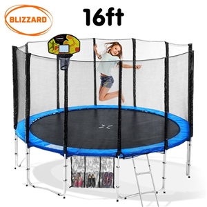 Blizzard 16 ft trampoline with net and b